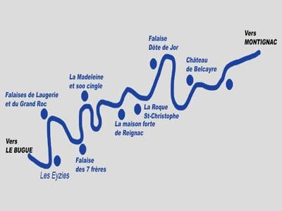 carte de parcours de descente de canoe aux eyzies